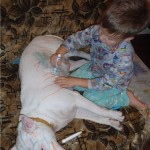 child coloring dog